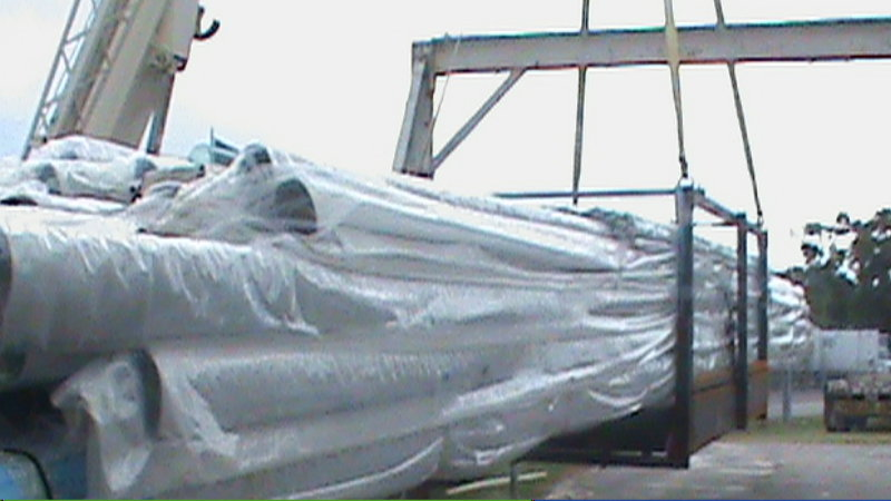 Transport Cradle of imported mast blanks